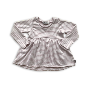 Handcrafted Peplum Tee in Persimmon Stripe (choice of sleeve length)