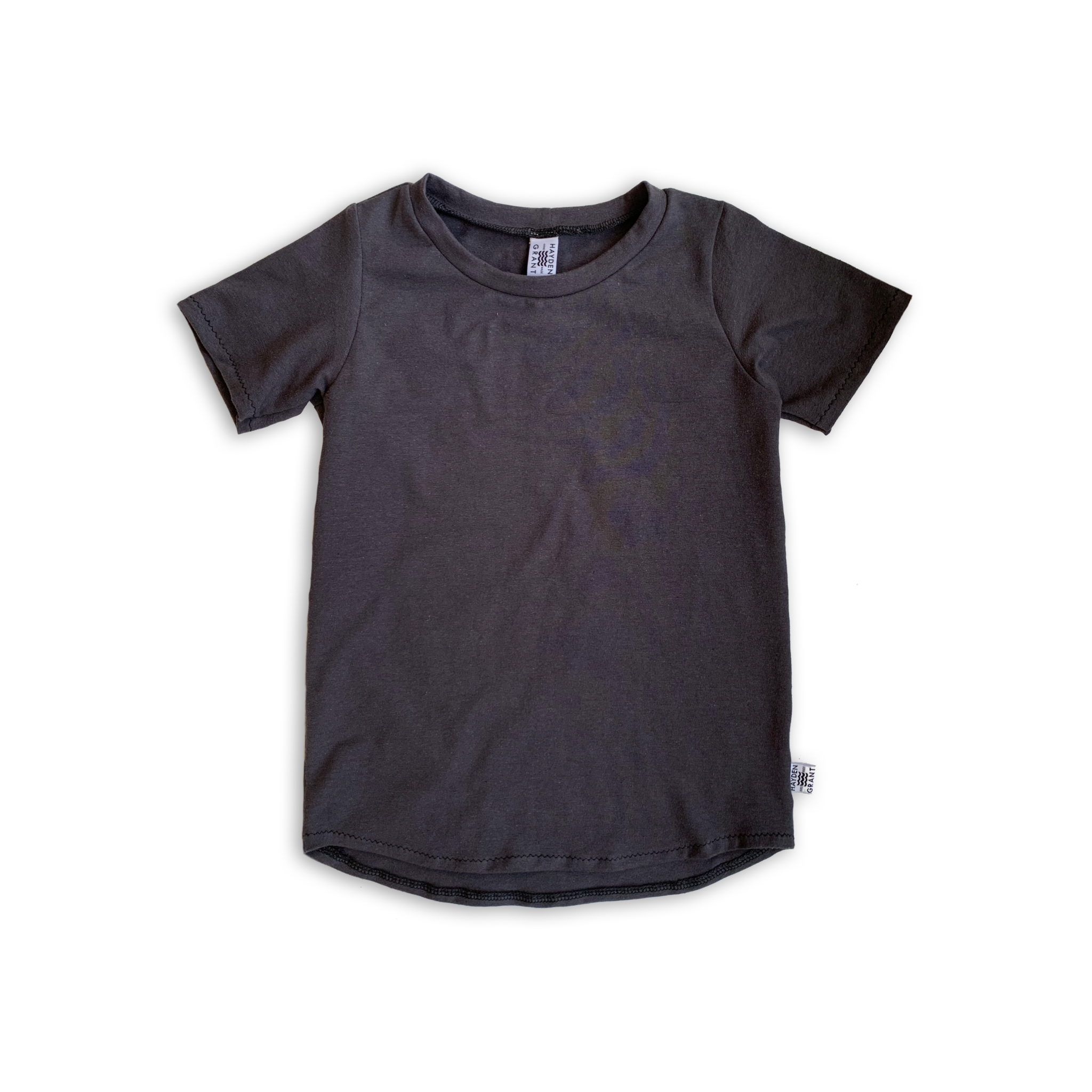 Curved Hem Tee in Solid Charcoal