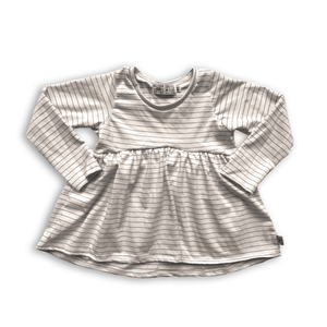 Handcrafted Peplum Tee in Warm Neutral Stripe (choose of sleeve length)