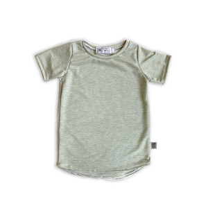 Curved Hem Tee in Green Tea Stripe