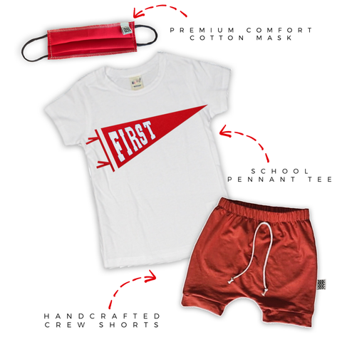 Back to School Crew Shorts Set in Varsity Red
