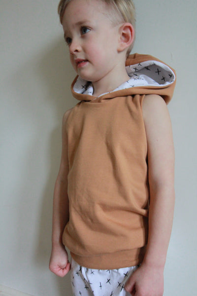 Hooded Tank in Toasted Wheat + Mono Ink