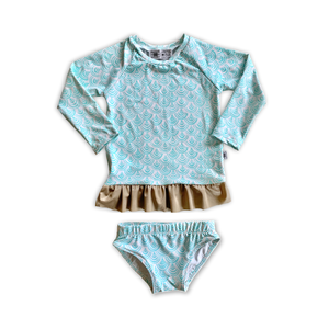 Scallops Ruffle Rash Guard + Bikini Bottoms Set