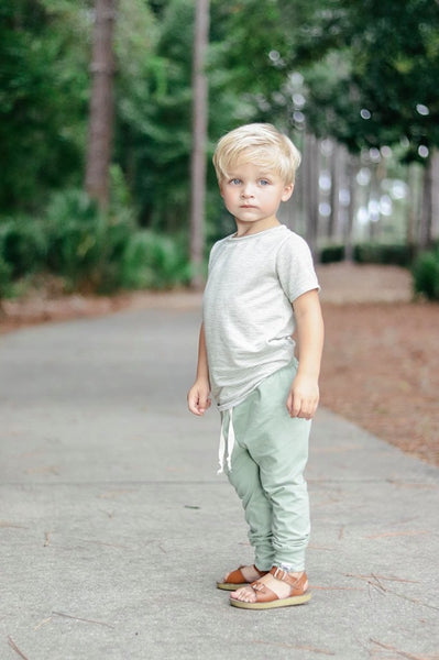 Essential Drawstring Joggers in Green Tea