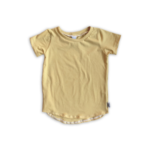 Curved Hem Tee in Solid Goldenrod