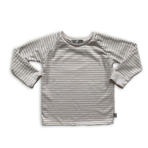 Handcrafted Raglan in Warm Neutral Stripe (choose of sleeve length)
