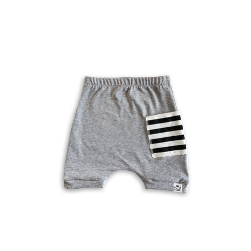 Gray Sidecar Pocket Harem Shorts for Baby Toddler and Kids