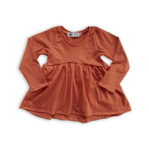 Handcrafted Peplum Tee in Russet (choose of sleeve length)