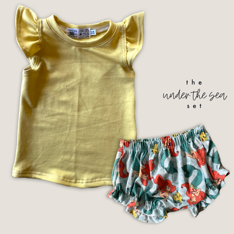 Under the Sea Ruffle Bummies + Sunrise Flutter Tank