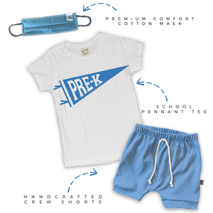 Back to School Crew Shorts Set in Varsity Blue