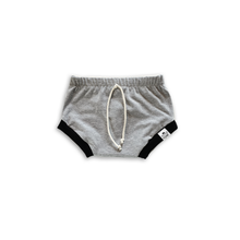 Load image into Gallery viewer, Gray & Black Bummies or Harem Shorts for Baby Toddler and Kids