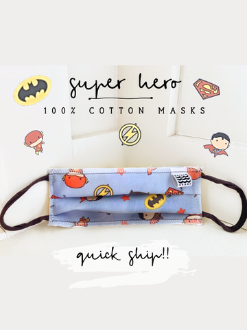 Super hero Extended Wear Face Mask (Batman, Superman Mask)