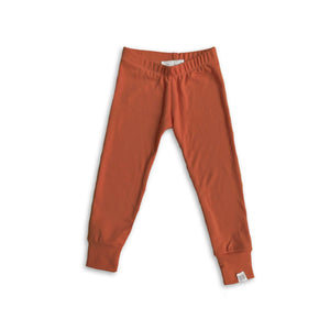 Slim Fit French Terry Leggings in Russet