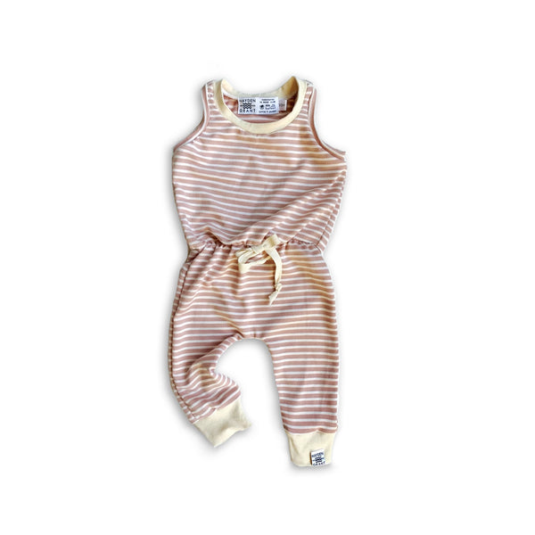 Long Cinched Waist Romper in Rose Water Stripe