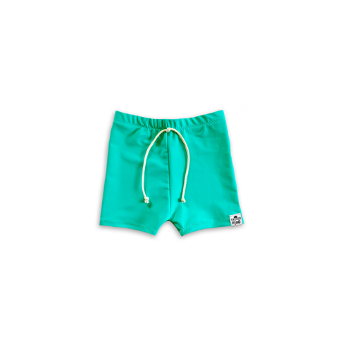 Banana Leaf Green Euro Swim Shorts- Baby Toddler Kids
