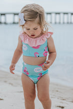 Load image into Gallery viewer, Pool Float (Flamingos & Donuts) High Waist Ruffle Bikini-Baby, Toddler & Kids-2-3 WEEK BACKORDER