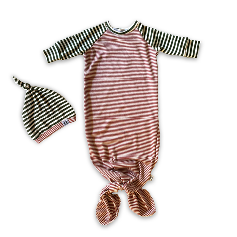 Knotted Sleeper Gown in Holly Berry Stripe