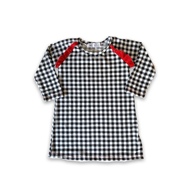 Flutter Dress in Holly Berry B + W Plaid (choice of sleeve length)