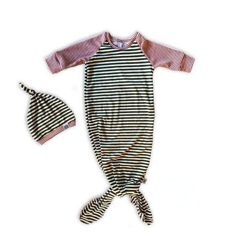 Knotted Sleeper Gown in Pine Stripe
