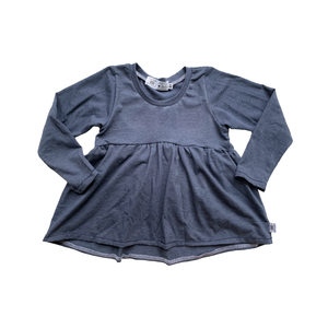 Handcrafted Peplum Tee in Narwhal (choose of sleeve length)