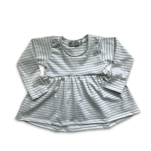 Handcrafted Peplum Tee in Pine Stripe (Choice of sleeve length)