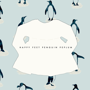 Limited Edition Peplum Tee in Happy Feet Penguin (choose of sleeve length)