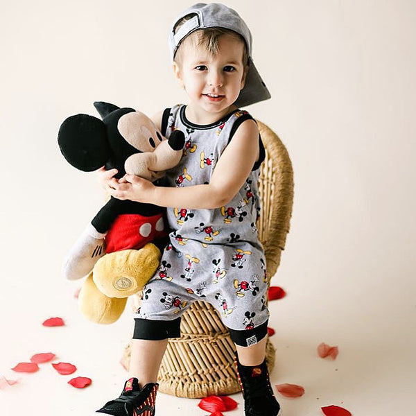 Limited Edition Shorts Romper in Mickey + Onyx