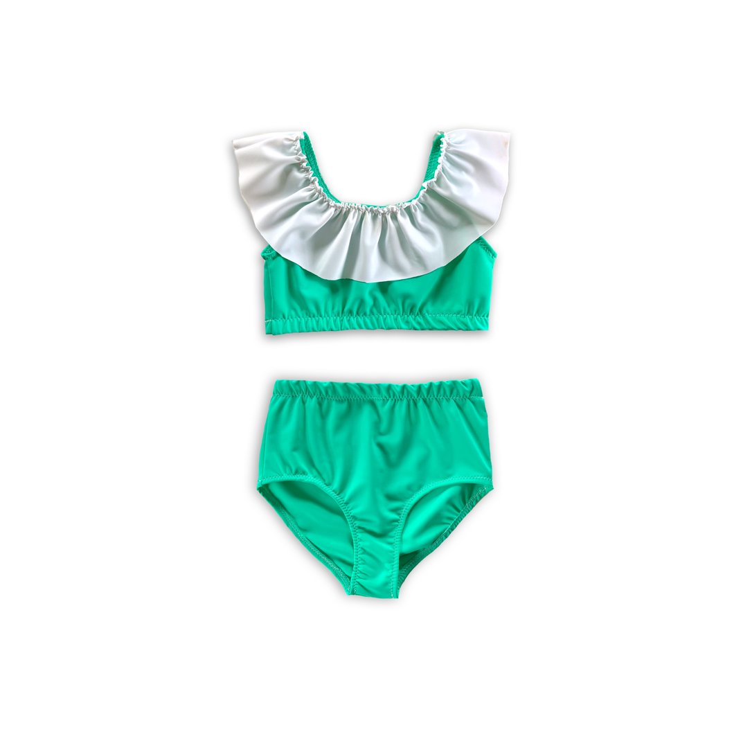 Banana Leaf Green High Waist Ruffle Bikini-Baby, Toddler & Kids