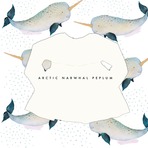 Limited Edition Peplum Tee in Arctic Narwhal (choose of sleeve length)