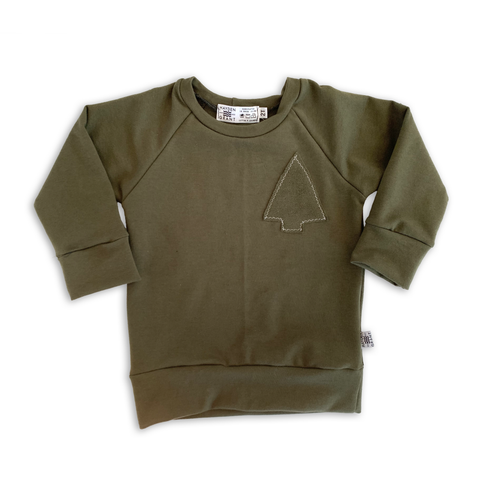 Tree Patchwork Sweatshirt in Pine