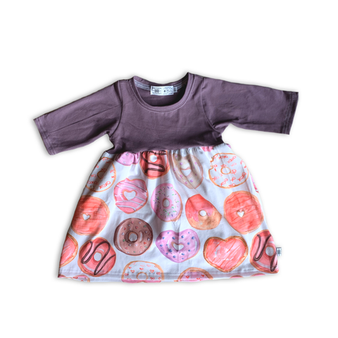 Limited Edition Twirl Dress in Love Donuts (choose of sleeve length)