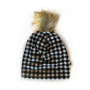 Adult Slouchy Pom Beanie in Black + White Plaid