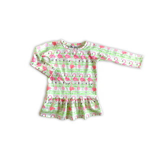 Ruffled Garden Dress in Bamboo Flamingo [Sleeveless or Long Sleeve]