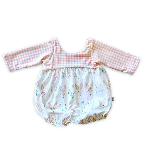 Limited Edition Shorts Bubble Romper in Ms.Bunny (choice of sleeve length)