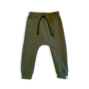 Olive Green Drawstring Harem Pants - Joggers - Leggings for Baby Toddler and Kids
