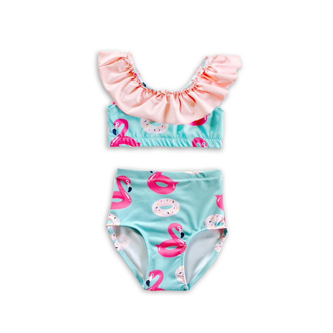 Pool Float (Flamingos & Donuts) High Waist Ruffle Bikini-Baby, Toddler & Kids-2-3 WEEK BACKORDER