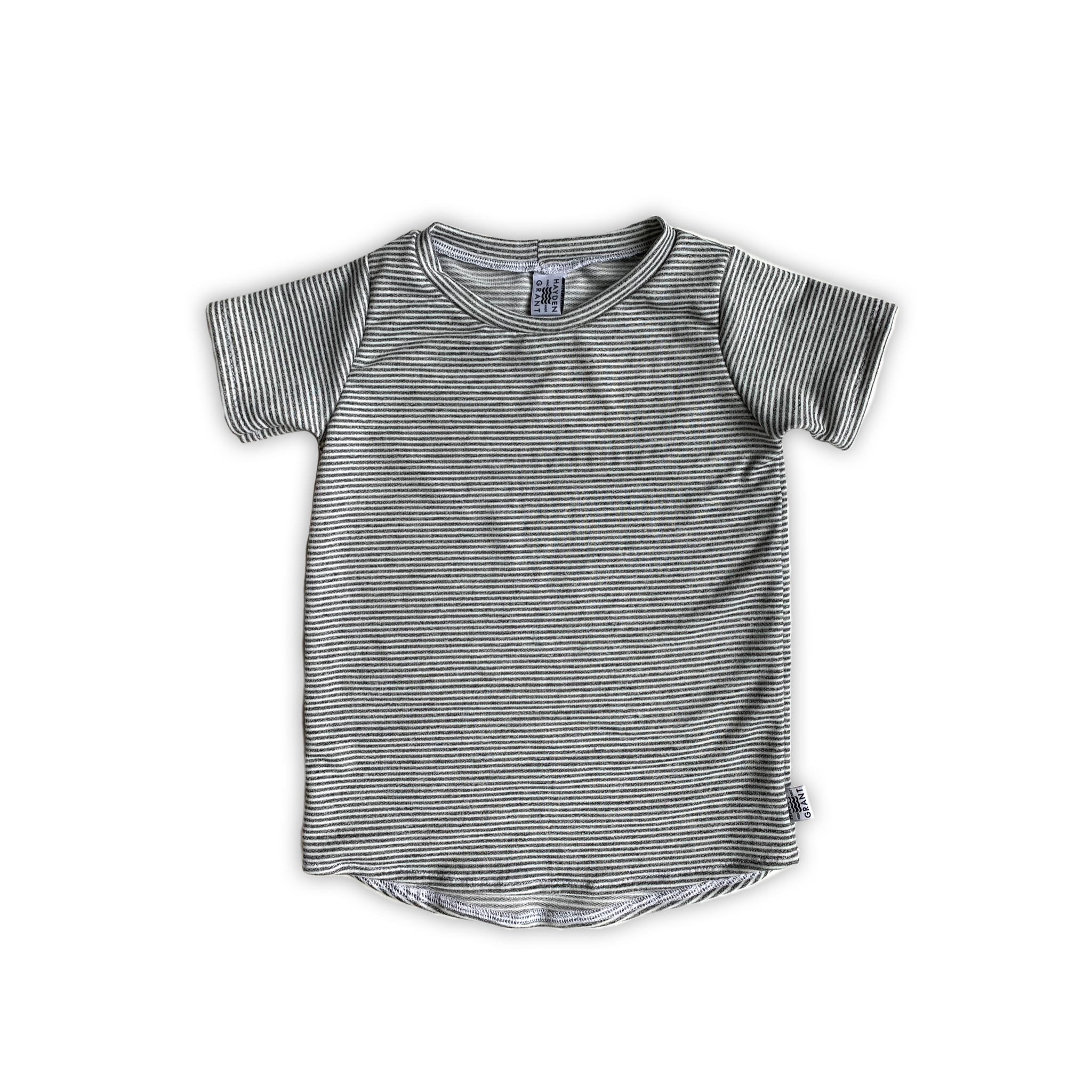 Curved Hem Tee in Charcoal Stripe