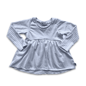 Handcrafted Peplum Tee in Icy Neutral Stripe (choose of sleeve length)