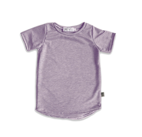 Curved Hem Tee in Mulberry Stripe