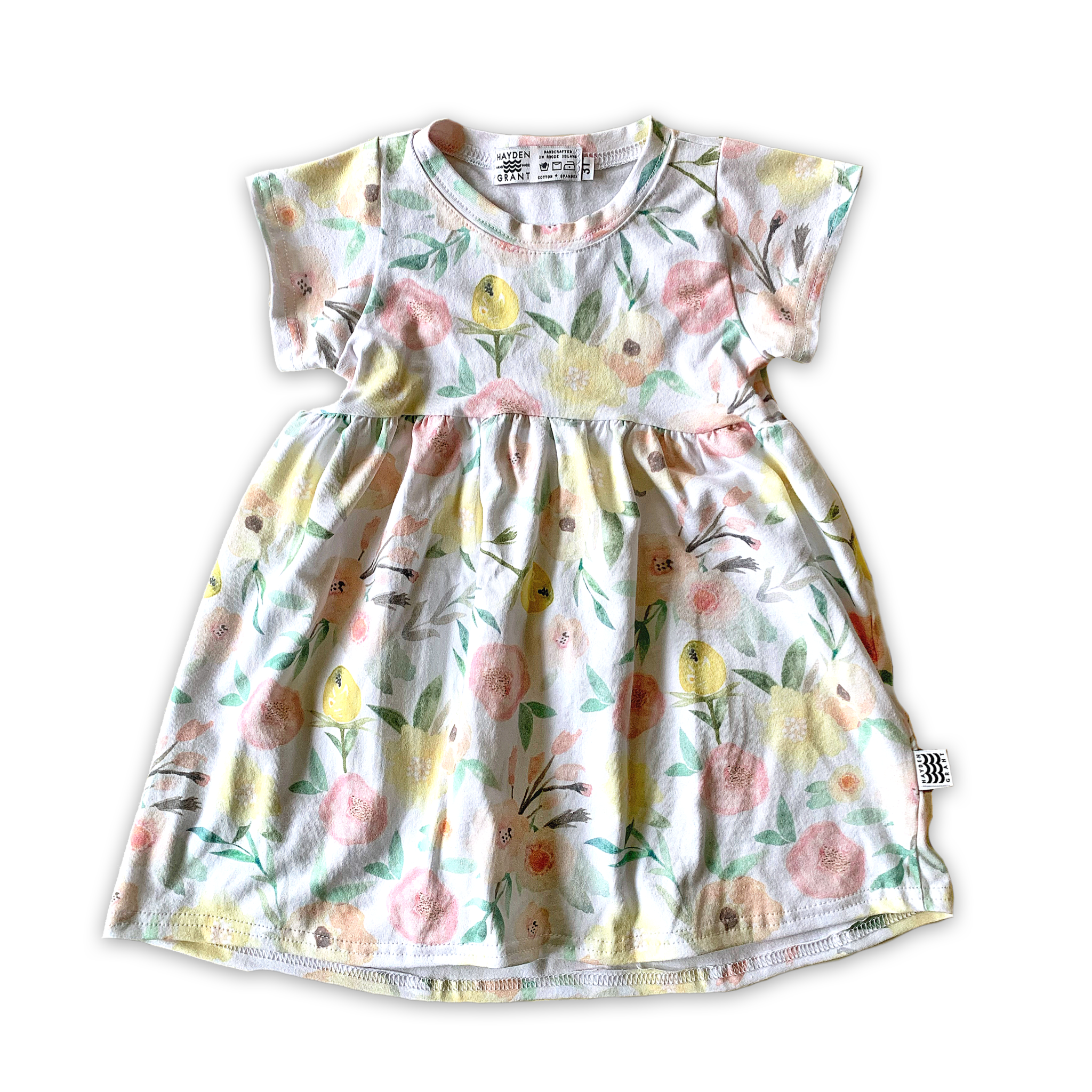 Peplum Twirl Dress in Fresh Blooms (choice of sleeve length)
