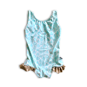 Scallops Ruffle Bum One Piece Swimsuit