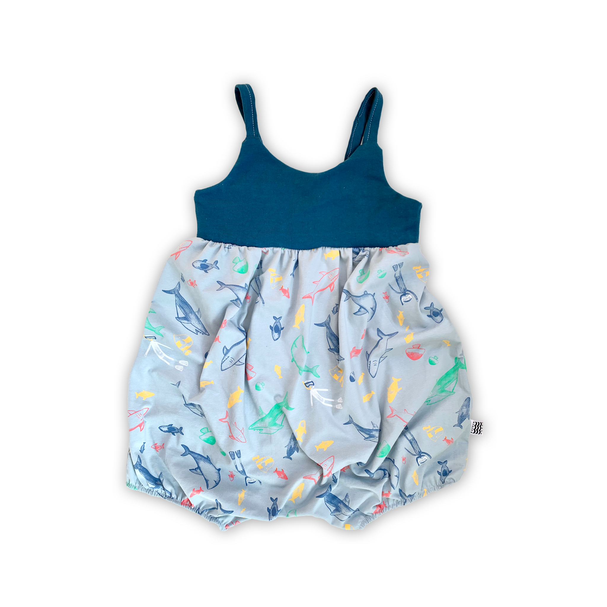 Bellevue Bubble Romper in Great White Reef (choice of sleeve length)