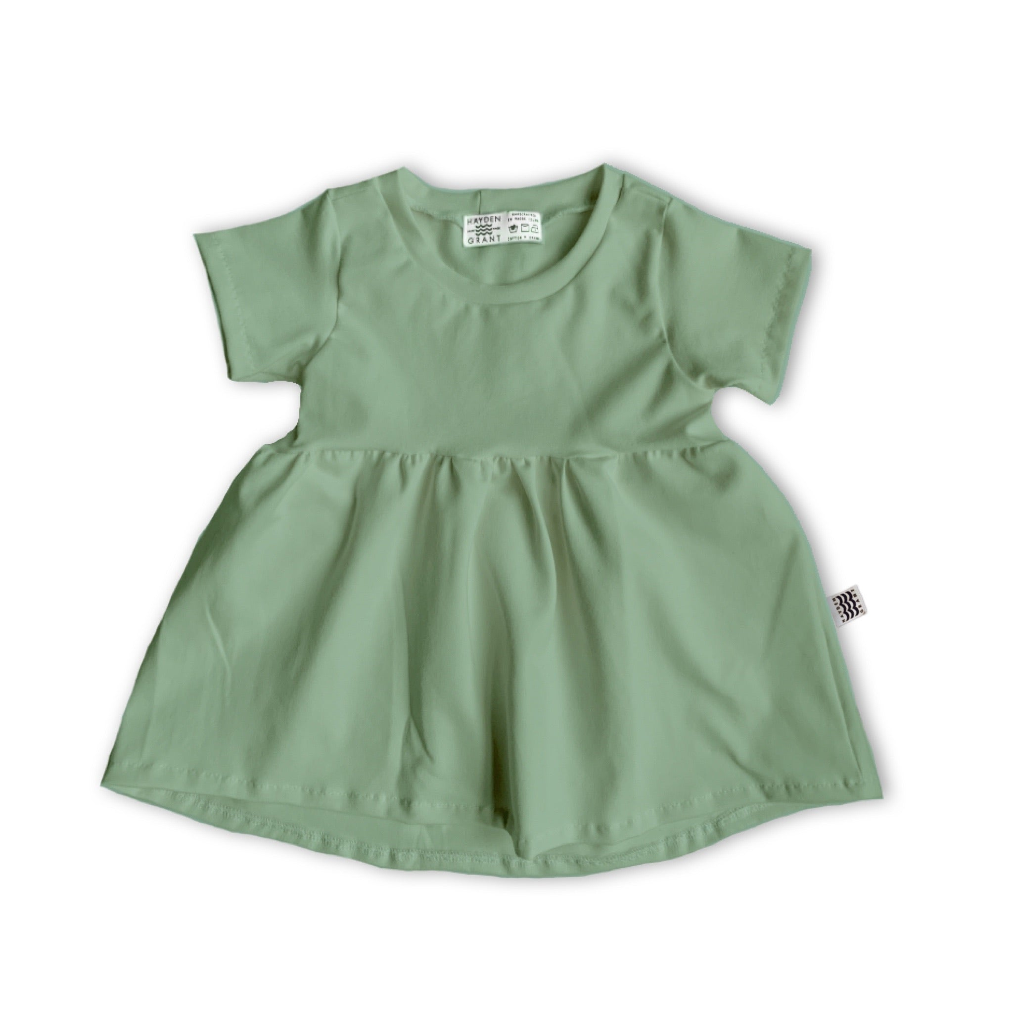 Handcrafted Peplum Tee in Green Tea (choice of sleeve length)