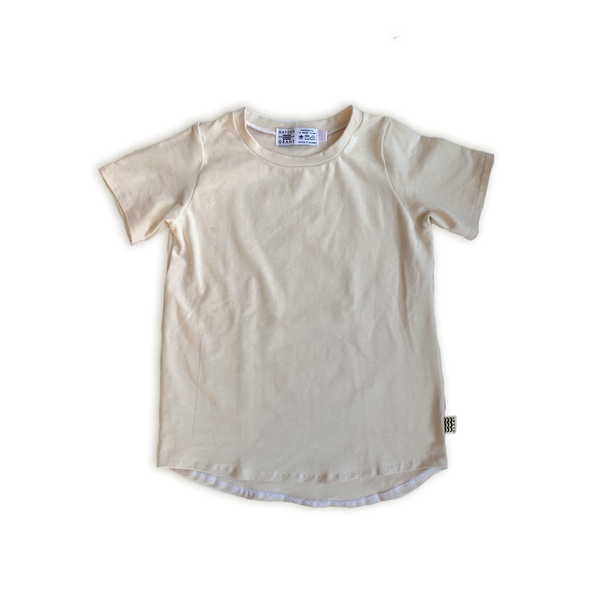 Curved Hem Tee in Solid Oat (choice of sleeve length)