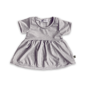 Peplum Tee in Charcoal Stripe