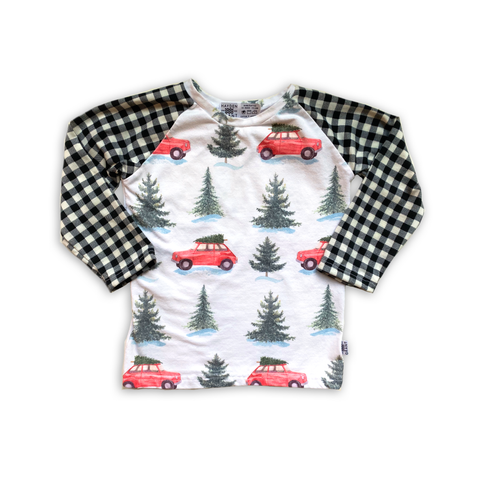 Limited Raglan in Christmas Cars (choice of sleeve length)
