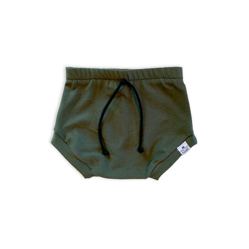 Olive Drawstring Bummies or Harem Shorts for Baby Toddler and Kids