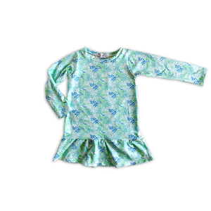 Ruffled Garden Dress in Mermaid [Sleeveless or Long Sleeve]