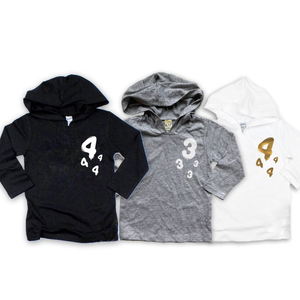 "Baby + Youth ""Birthday Balloon"" Long Sleeve Hooded Tee (choice of color)"