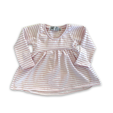 Handcrafted Peplum Tee in Holly Berry Stripe (Choice of sleeve length)